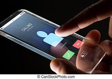 smartphone, 入ってくる, の上, 手, 呼出し, 終わり