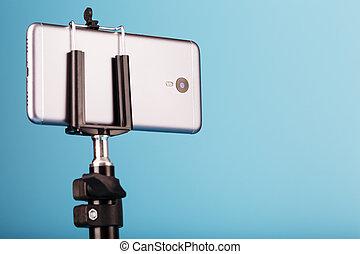 smartphone, 写真, あなたの, カメラ, photo-video, blog., レコード, 三脚, 青, バックグラウンド。, ビデオ