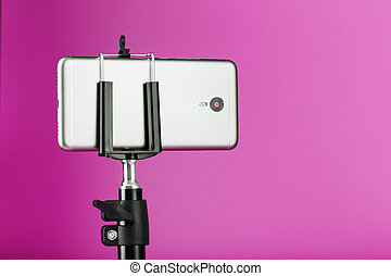 smartphone, 写真, あなたの, ピンク, カメラ, photo-video, blog., レコード, 三脚, バックグラウンド。, ビデオ