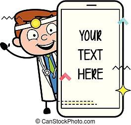 smartphone, 医者, ベクトル, 旗, 漫画, 幸せ