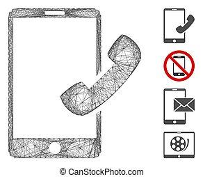smartphone, 噛み合いなさい, 呼出し, ベクトル, 線である
