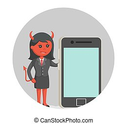 smartphone, 大きい, 悪魔, 背景, 女性実業家, 円