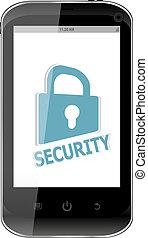 smartphone, 带, 安全, 锁, 在上, display., 一般, 运载工具, 聪明, 电话