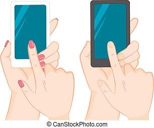 smartphone, 感動的である, スクリーン, 手を持つ