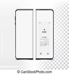 smartphone, 折りたたみ, 技術, mockup, screen., 背中, 電話, デザイン, 新しい, template., 柔軟である, あなたの, 側