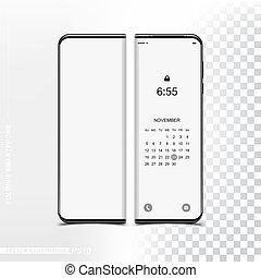 smartphone, 折りたたみ, 技術, mockup, screen., template., 電話, デザイン, 新しい, 前部, 柔軟である, あなたの, 側