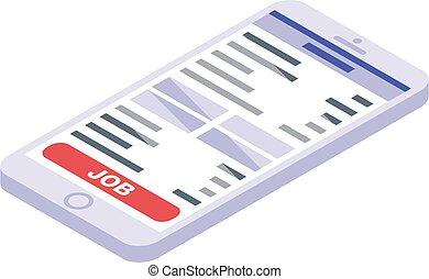 smartphone, 捜索しなさい, 等大, スタイル, アイコン, 仕事