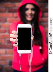 smartphone, 提示, 女, ディスプレイ, ブランク