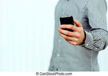 smartphone, 握住, 形象, 隔离, 手, closeup, 背景, 男性的怀特