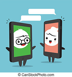smartphone, 漫画, チャット