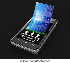 smartphone, 由于, 信用卡
