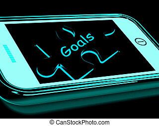 smartphone, 目的, 目標, ゴール, ターゲット, ショー