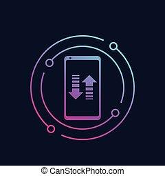 smartphone, 移動, 電話, データ, モビール, アイコン