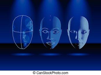 smartphone, 老, 科學, 現代, 臉, 檢驗, 進展, 技術, 認識