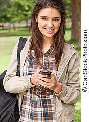 smartphone, 肖像画, 使うこと, 学生, 若い