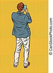 smartphone, 背中, 人