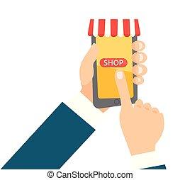 smartphone, 買い物, モビール, app, 手の 保有物
