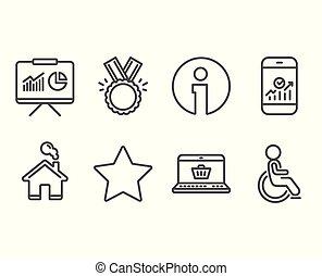 smartphone, 買い物, 星, icons., 不具, プレゼンテーション, 統計量, オンラインで, 名誉, signs.