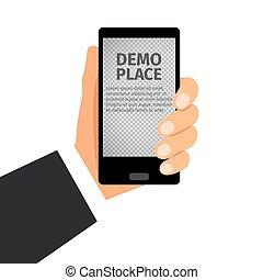 smartphone, 透明, 背景, 手