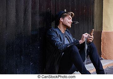 smartphone, 通り, 若者, モデル