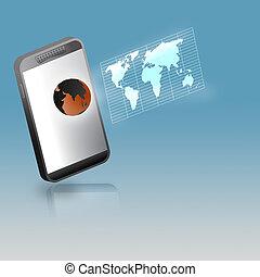 smartphone, 連接, 技術, co