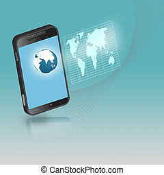 smartphone, 連接, 技術, concept.