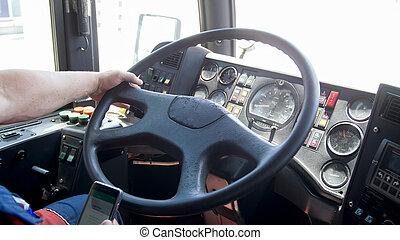 smartphone, 運転, 写真, 責任のない, 運転手, トラック, 間, クローズアップ, 使うこと