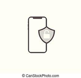 smartphone, 錠, ベクトル, セキュリティー, 開いた, アイコン