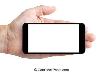 smartphone, 隔離された, 手, 背景, ブランク, 白, ディスプレイ
