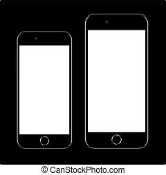 smartphone, 電話, モビール, ブランド, 現実的, 黒, 新しい