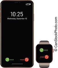 smartphone, 電話, モビール, ブランド, smartwatch, 現実的, 黒, 新しい