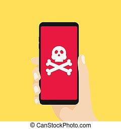smartphone, 頭骨, スパムしなさい, モビール, メッセージ, malware, sms, screen., 手, 脅威, スピーチ, 保有物, 欺瞞, concepts., 泡, crossbones
