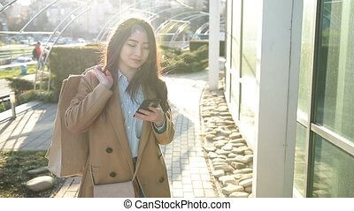 smartphone, 우아한, 파도타기, 아시아 사람 여아, 그물