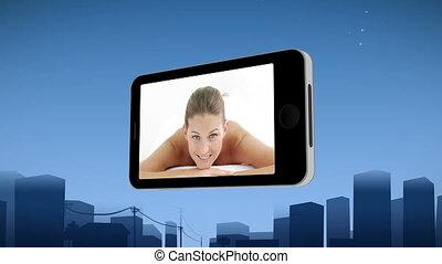 smartphone, 전시, a, 여자