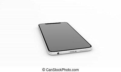 smartphone, 132, téléphone portable, arrière-plan., blanc