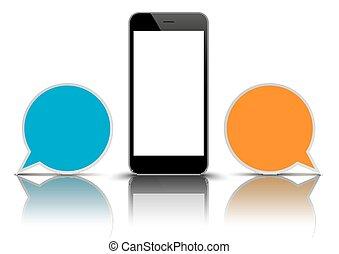 Smartphone 2 Round Speech Bubbles