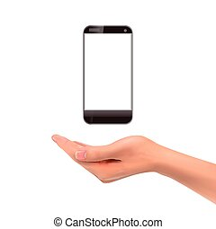 smartphone, 3d, dzierżawa ręka