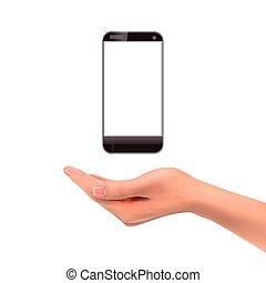 smartphone, 3d, tenendo mano