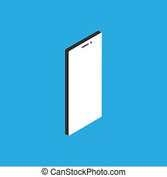 Smartphone 3d vector isometric illustration in flat style on blue background. EPS 10