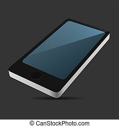 Smartphone 3D View Icon in Flat Style on Dark Background. Vector