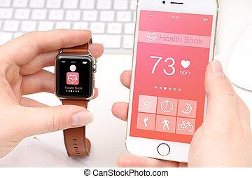 smartphone, a, smartwatch, rozdělající, hod