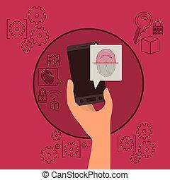 smartphone, achtergrond, beweeglijk, hand houdend, vingerafdruk, veiligheid, magenta