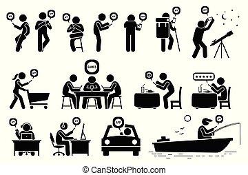 smartphone, activities., ludzie, app, różny, używając