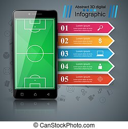 smartphone, affari, football, infographic., -, calcio