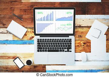 smartphone, affari, legno, grafico,  laptop, su, altro, tavola, vuoto, schermo, beffare,  accesories