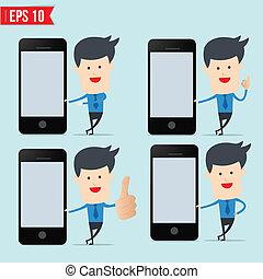 smartphone, affari, mostra, schermo, vuoto, uomo
