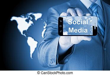 smartphone, affari, socail, media, titolo portafoglio mano, uomo