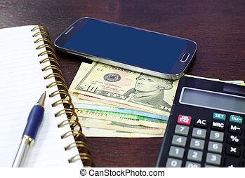 smartphone, affari, soldi, legno, tavola, composizione