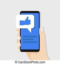 smartphone, aimer, concept., screen., possession main, social, message, réseau