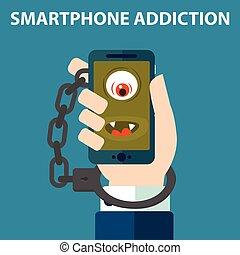 smartphone, algemas, vício